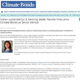 Indian sustainability & banking leader Namita Vikas joins